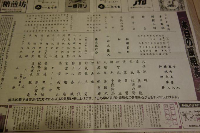 大相撲地方巡業大阪場所 取組表