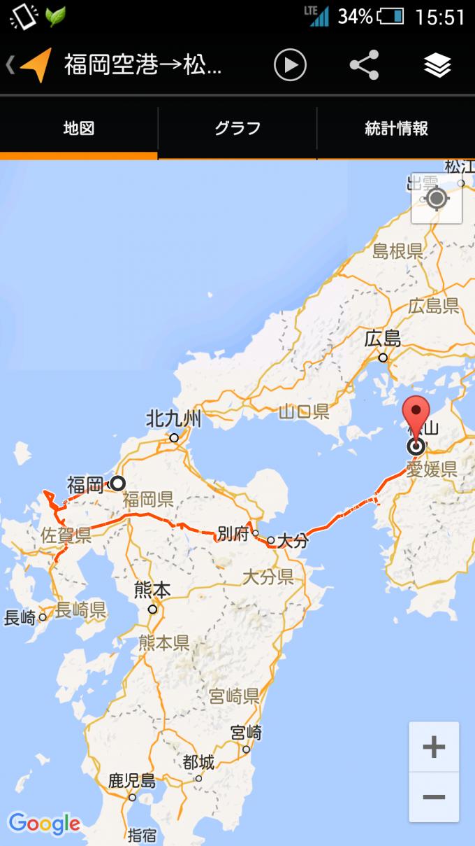 福岡、佐賀、大分、愛媛ドライブのルート