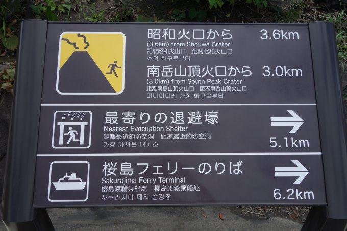 桜島 退避壕案内看板