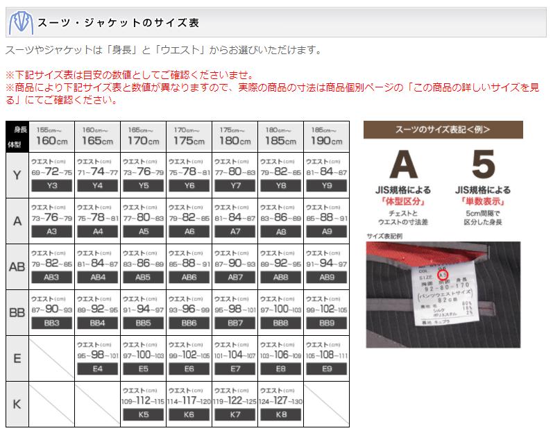 AOKI スーツのサイズ表
