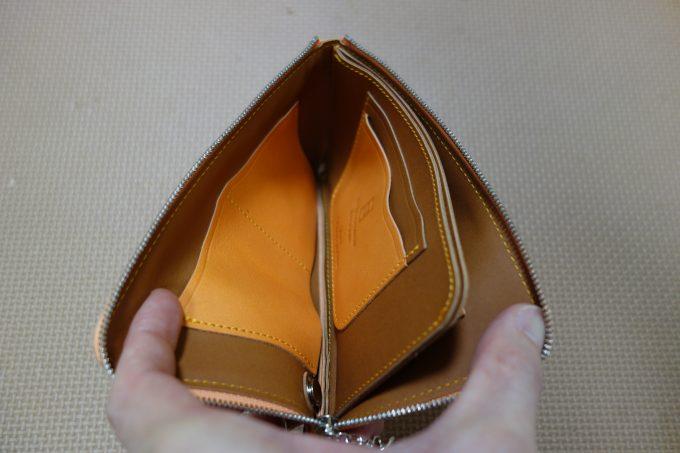L字ファスナー薄型長財布 池之端銀革店L字ファスナーロングウォレット内部左側