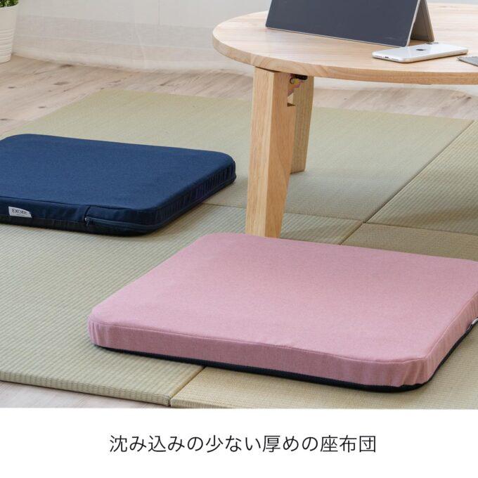 エクスジェルの床用座布団クッション「オザブ」イメージ(カバー付き)