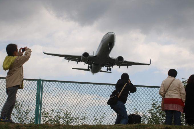 伊丹空港そばの千里川堤防から飛行機の着陸を見る
